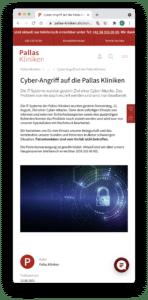 Cyber Angriff auf Pallas Kliniken - Mitteilung auf Website